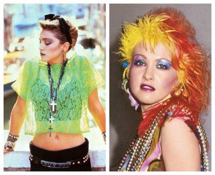 Madonna y Cindy Lauper lucian siempre colores neon